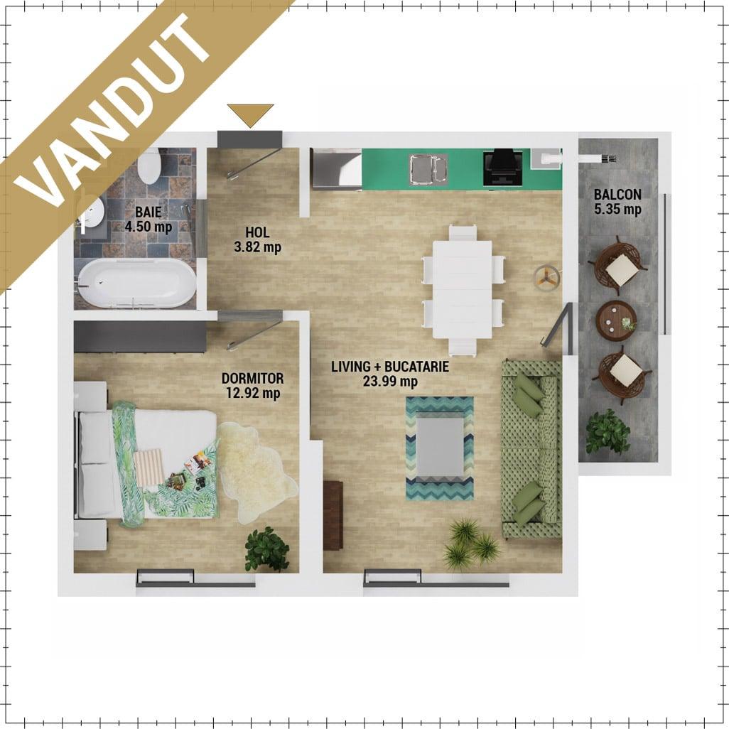 Apartament 2 camere de vanzare Bucuresti - Uverturii Residence - Militari - Lujerului - Gorjului - Tip 2 - T3 - V