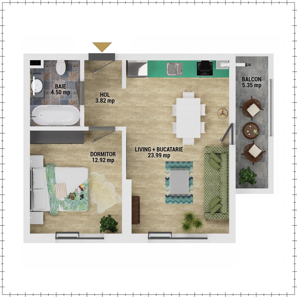 Apartament 2 camere de vanzare Bucuresti - Uverturii Residence - Militari - Lujerului - Gorjului - Tip 2 - T3 - F