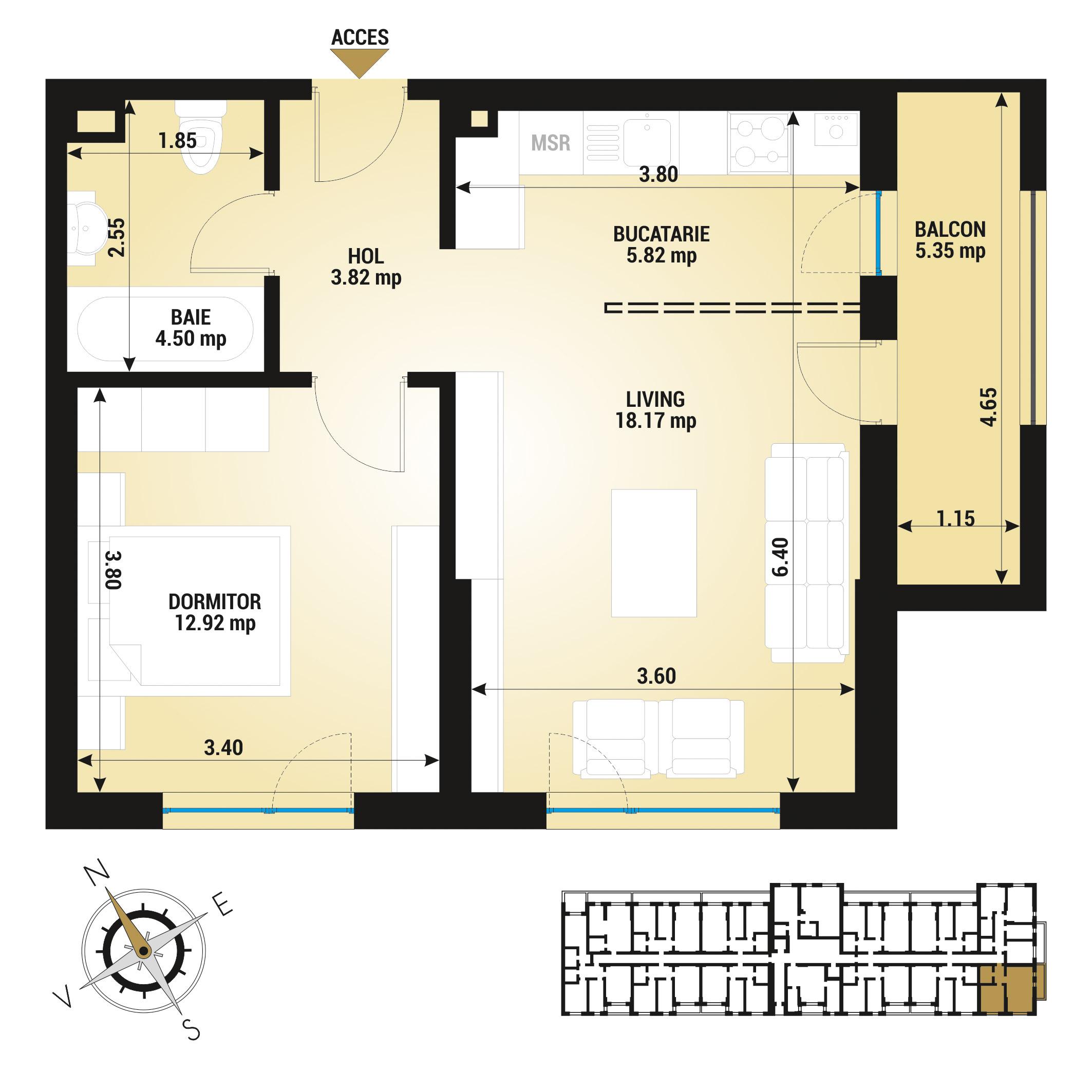 Apartament 2 camere de vanzare Bucuresti - Uverturii Residence - Militari - Lujerului - Gorjului - Tip 2 - T3