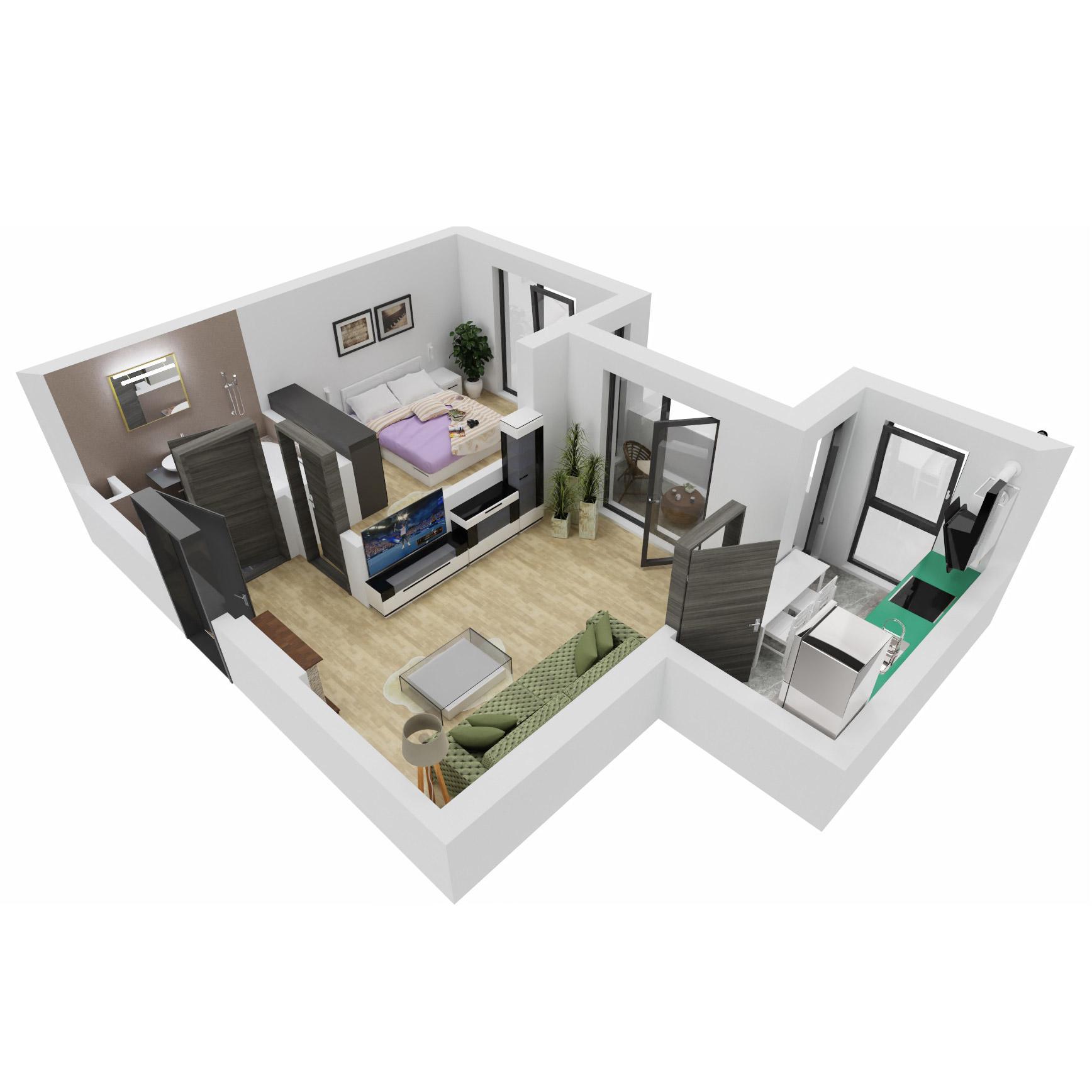 Apartament 2 camere de vanzare Bucuresti - Uverturii Residence - Militari - Lujerului - Gorjului - Tip 3 - T1 - B