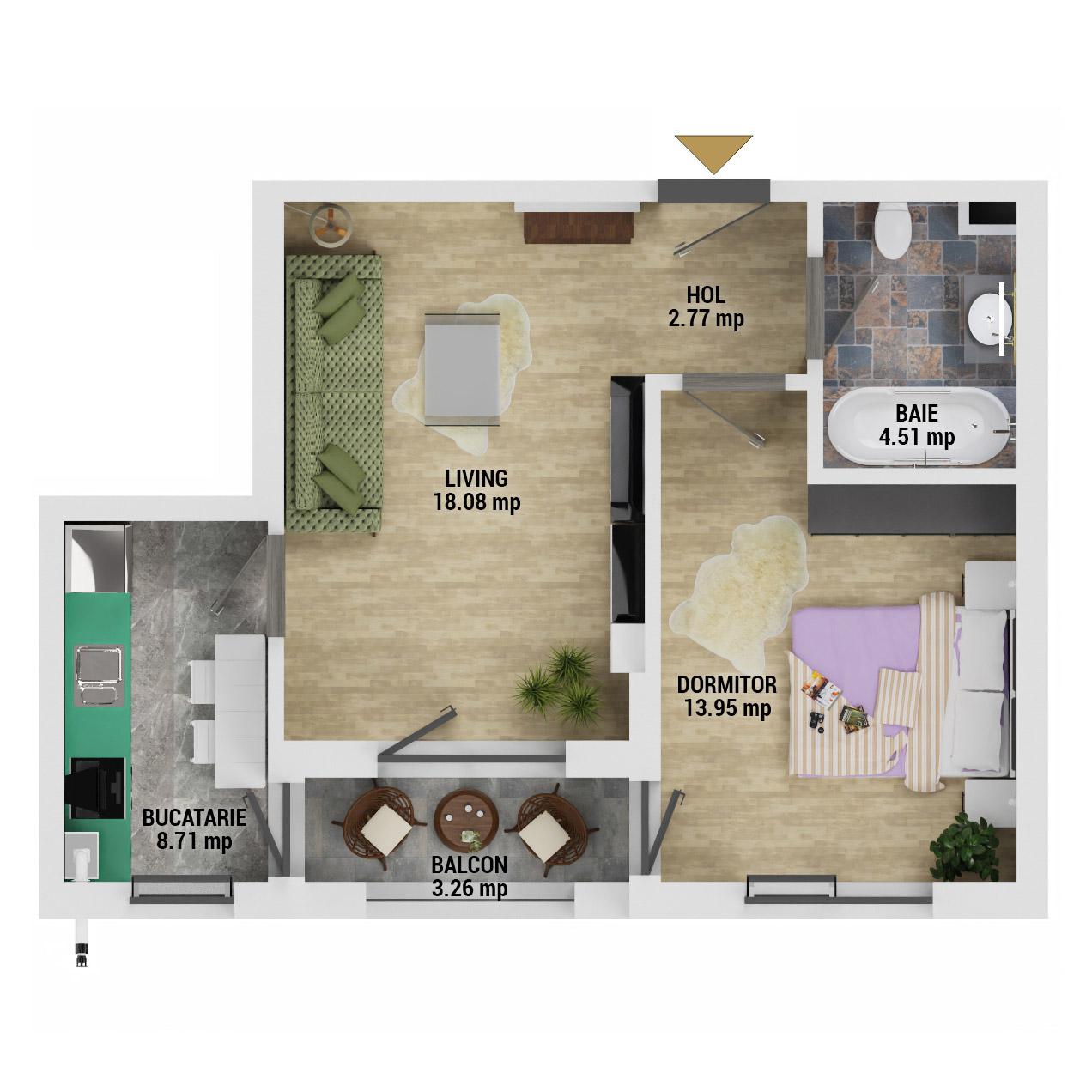 Apartament 2 camere de vanzare Bucuresti - Uverturii Residence - Militari - Lujerului - Gorjului - Tip 3 - T1 - D