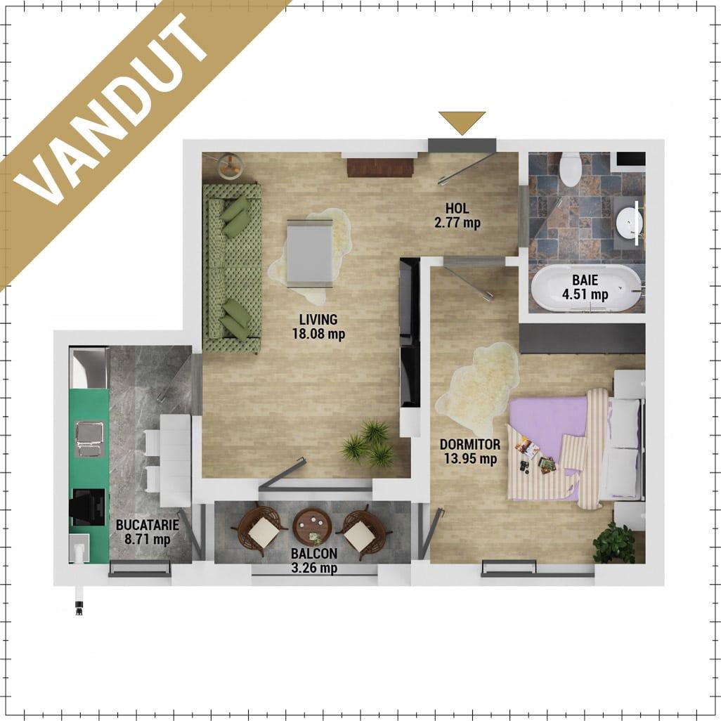 Apartament 2 camere de vanzare Bucuresti - Uverturii Residence - Militari - Lujerului - Gorjului - Tip 3 - T1 - V