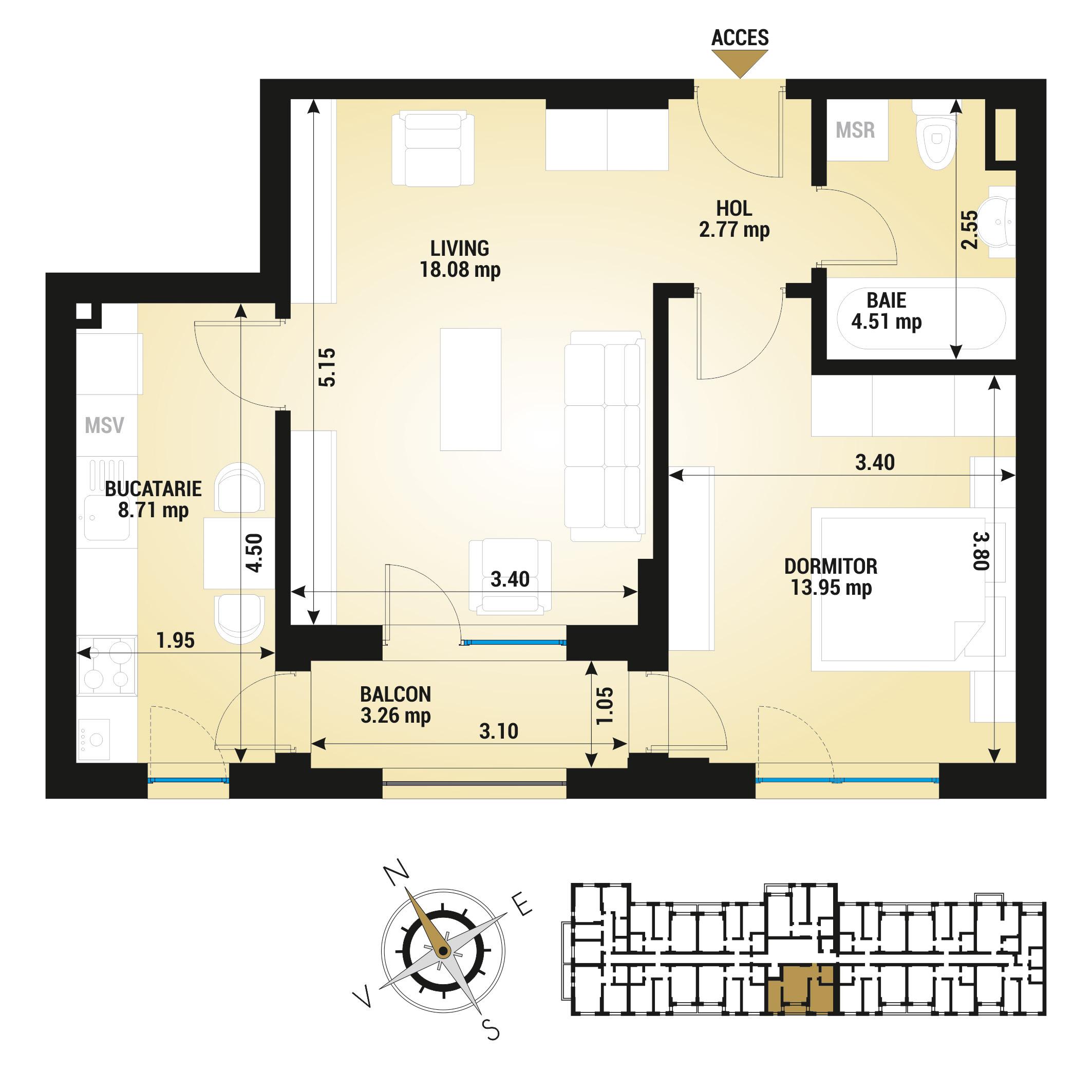 Apartament 2 camere de vanzare Bucuresti - Uverturii Residence - Militari - Lujerului - Gorjului - Tip 3 - T1