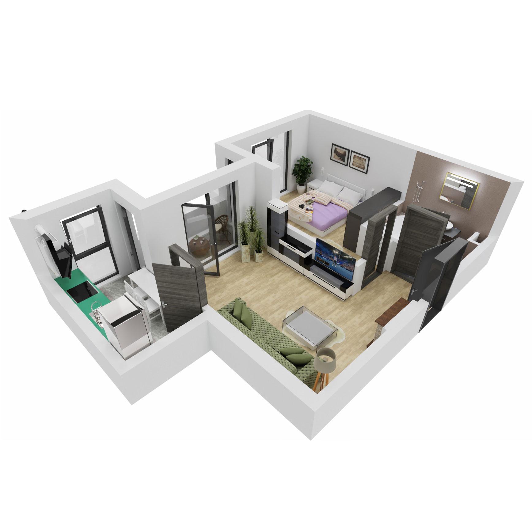 Apartament 2 camere de vanzare Bucuresti - Uverturii Residence - Militari - Lujerului - Gorjului - Tip 3 - T3 - B