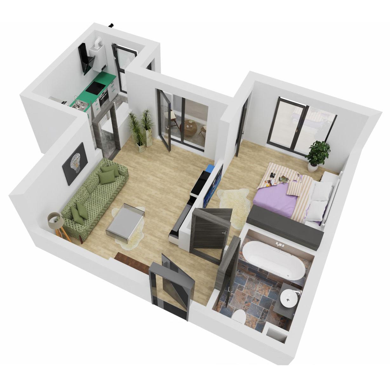 Apartament 2 camere de vanzare Bucuresti - Uverturii Residence - Militari - Lujerului - Gorjului - Tip 3 - T3 - C