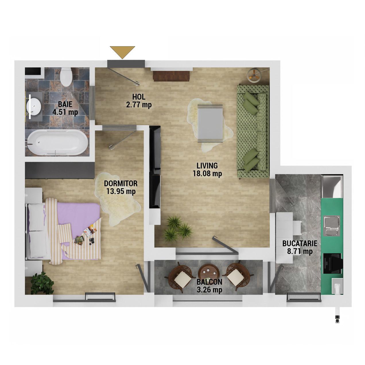 Apartament 2 camere de vanzare Bucuresti - Uverturii Residence - Militari - Lujerului - Gorjului - Tip 3 - T3 - E