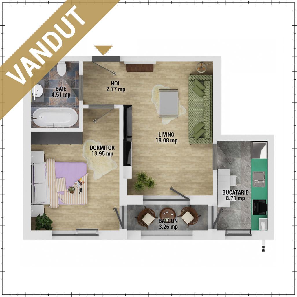 Apartament 2 camere de vanzare Bucuresti - Uverturii Residence - Militari - Lujerului - Gorjului - Tip 3 - T3 - FV