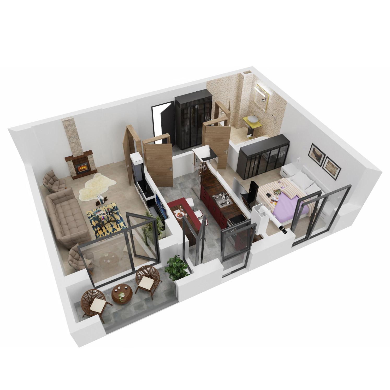 Apartament 2 camere de vanzare Bucuresti - Uverturii Residence - Militari - Lujerului - Gorjului - Tip 4 - T1 - A