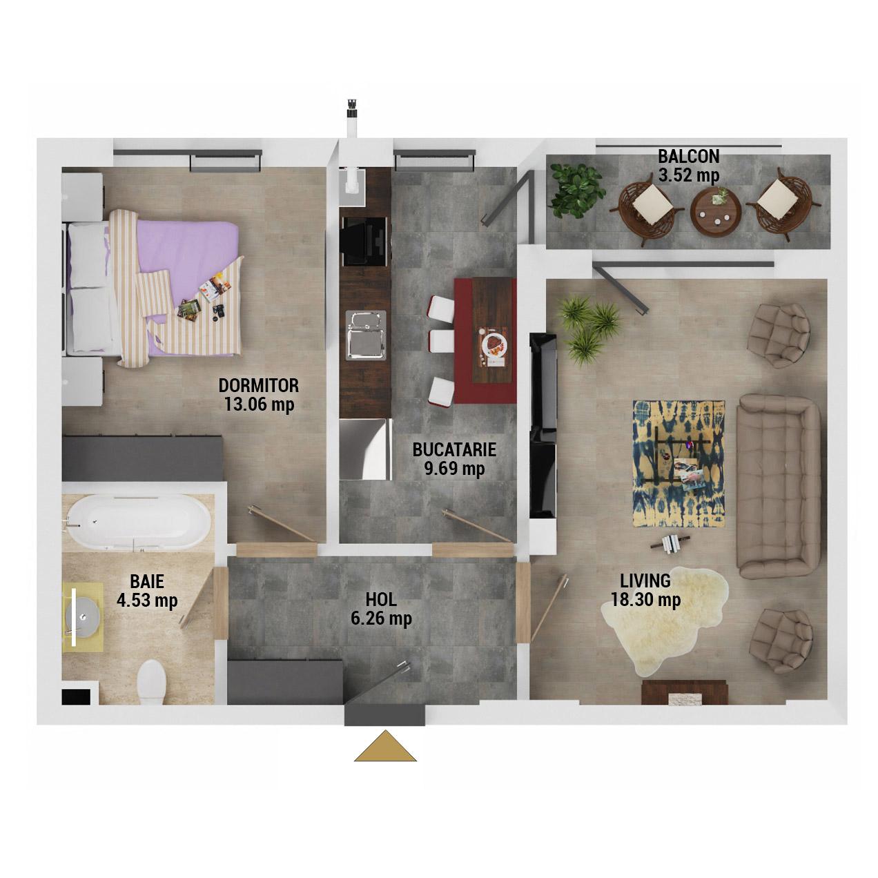 Apartament 2 camere de vanzare Bucuresti - Uverturii Residence - Militari - Lujerului - Gorjului - Tip 4 - T1 - D