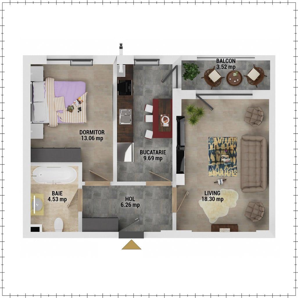 Apartament 2 camere de vanzare Bucuresti - Uverturii Residence - Militari - Lujerului - Gorjului - Tip 4 - T1 - E