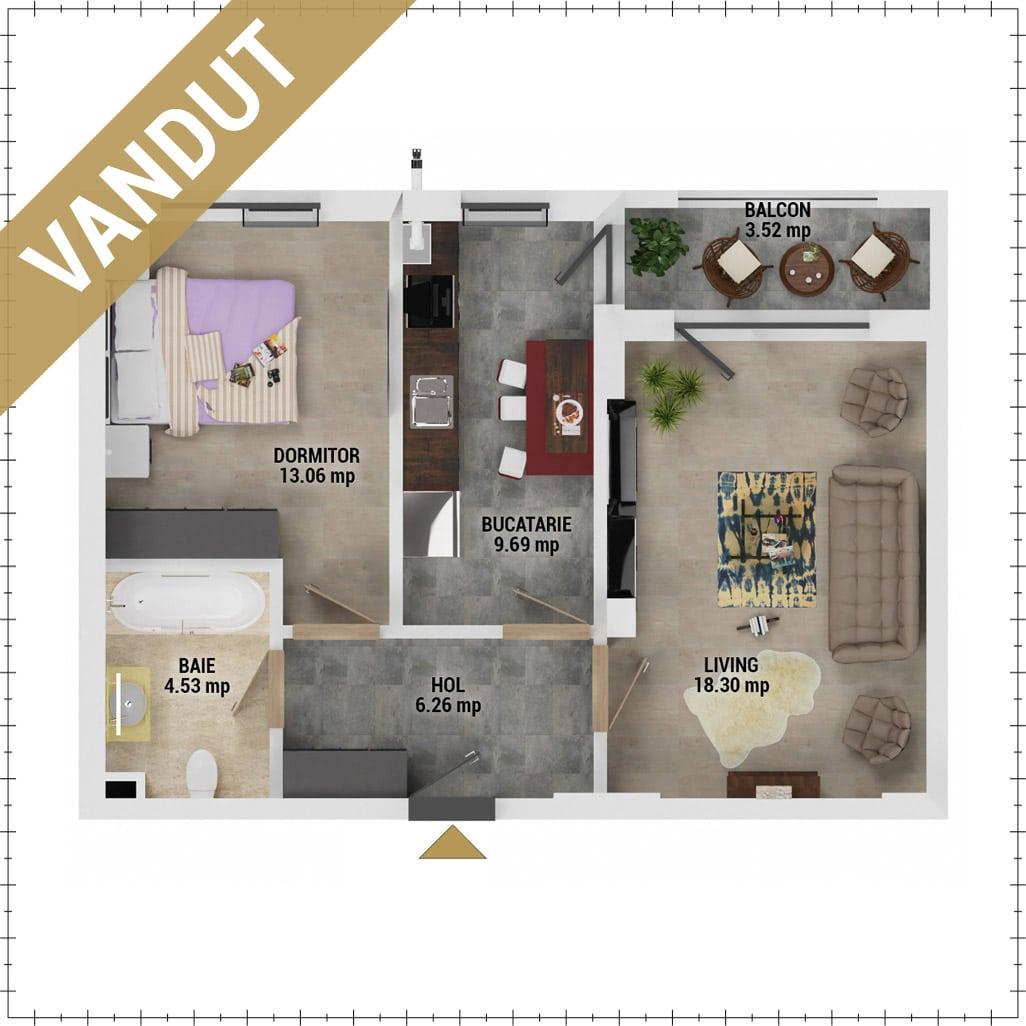 Apartament 2 camere de vanzare Bucuresti - Uverturii Residence - Militari - Lujerului - Gorjului - Tip 4 - T1 - V