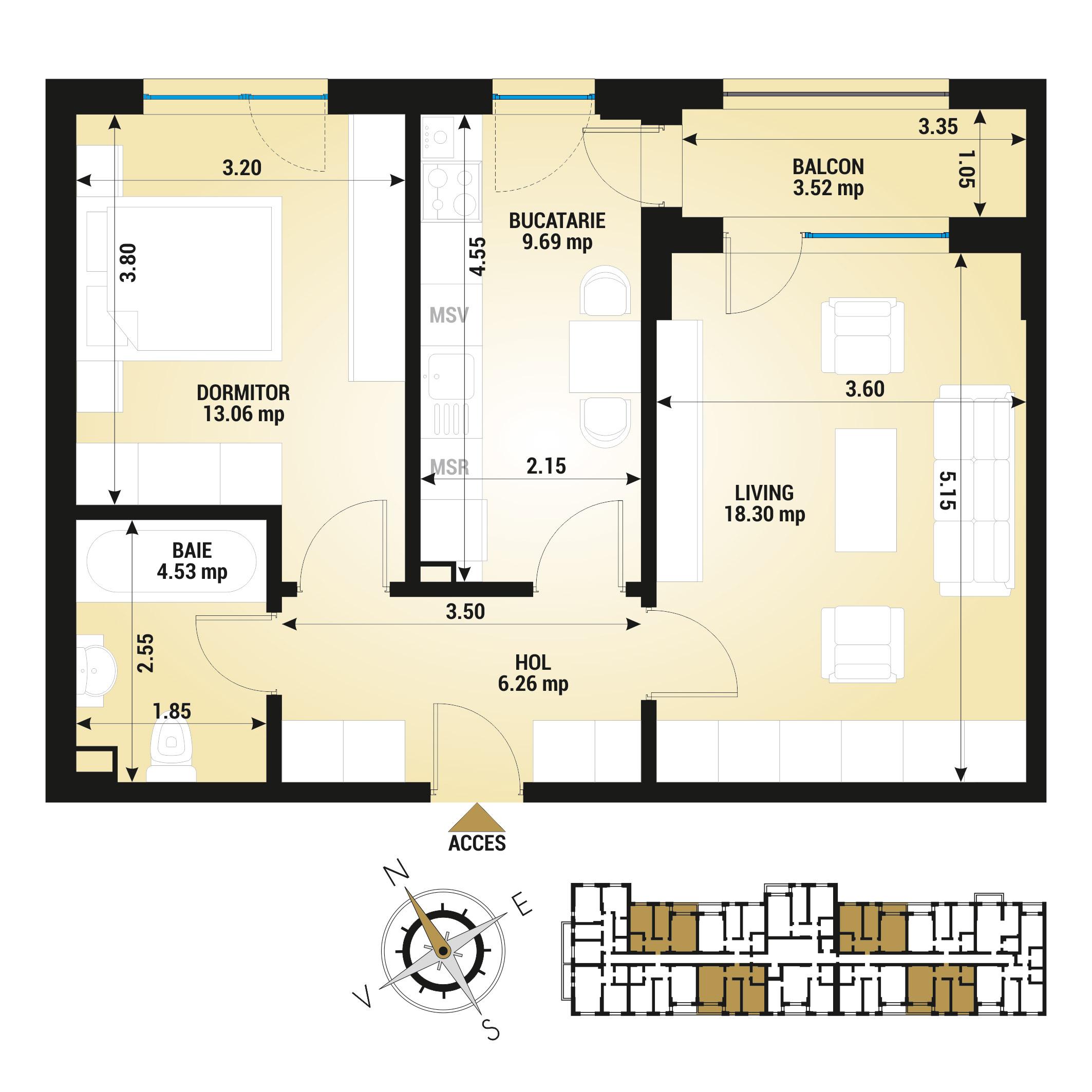 Apartament 2 camere de vanzare Bucuresti - Uverturii Residence - Militari - Lujerului - Gorjului - Tip 4 - T1