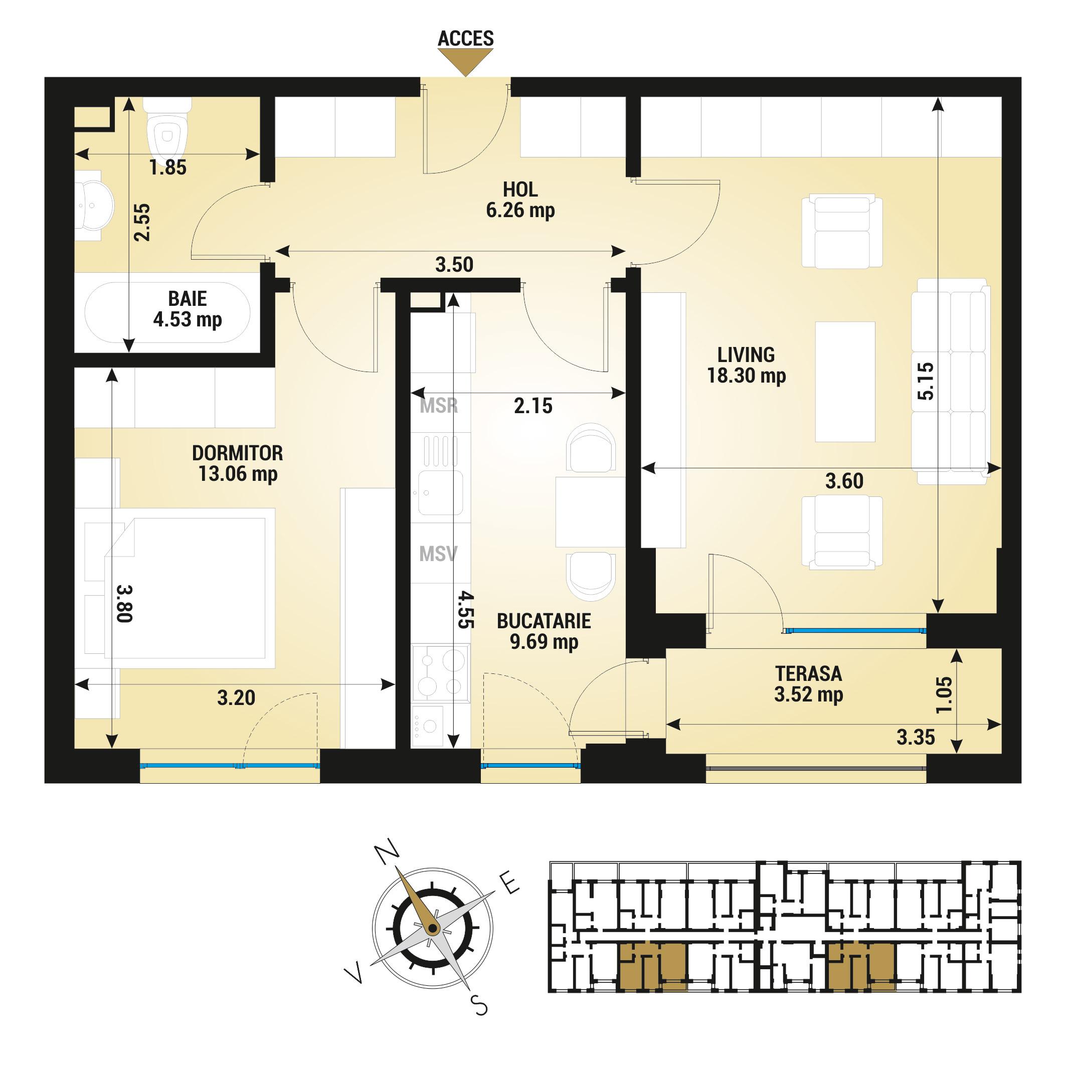 Apartament 2 camere de vanzare Bucuresti - Uverturii Residence - Militari - Lujerului - Gorjului - Tip 4D - T3