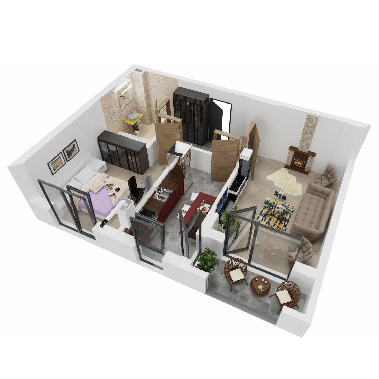 Apartament 2 camere de vanzare Bucuresti - Uverturii Residence - Militari - Lujerului - Gorjului - Tip 4 - T3 - A