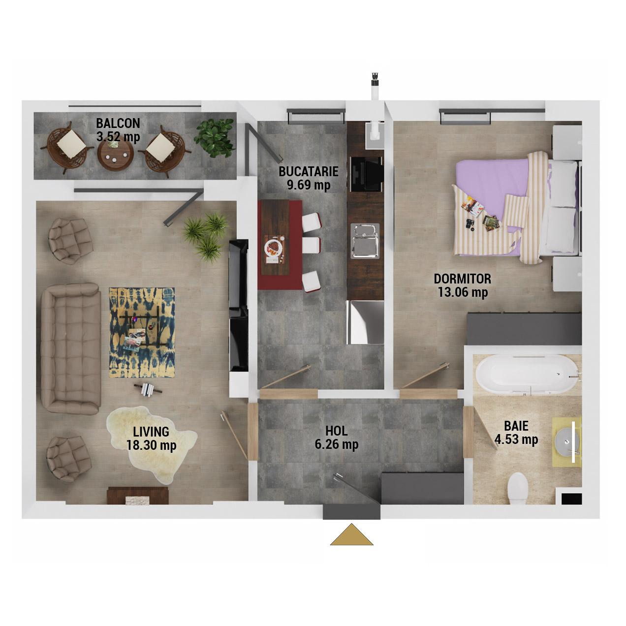 Apartament 2 camere de vanzare Bucuresti - Uverturii Residence - Militari - Lujerului - Gorjului - Tip 4 - T3 - E