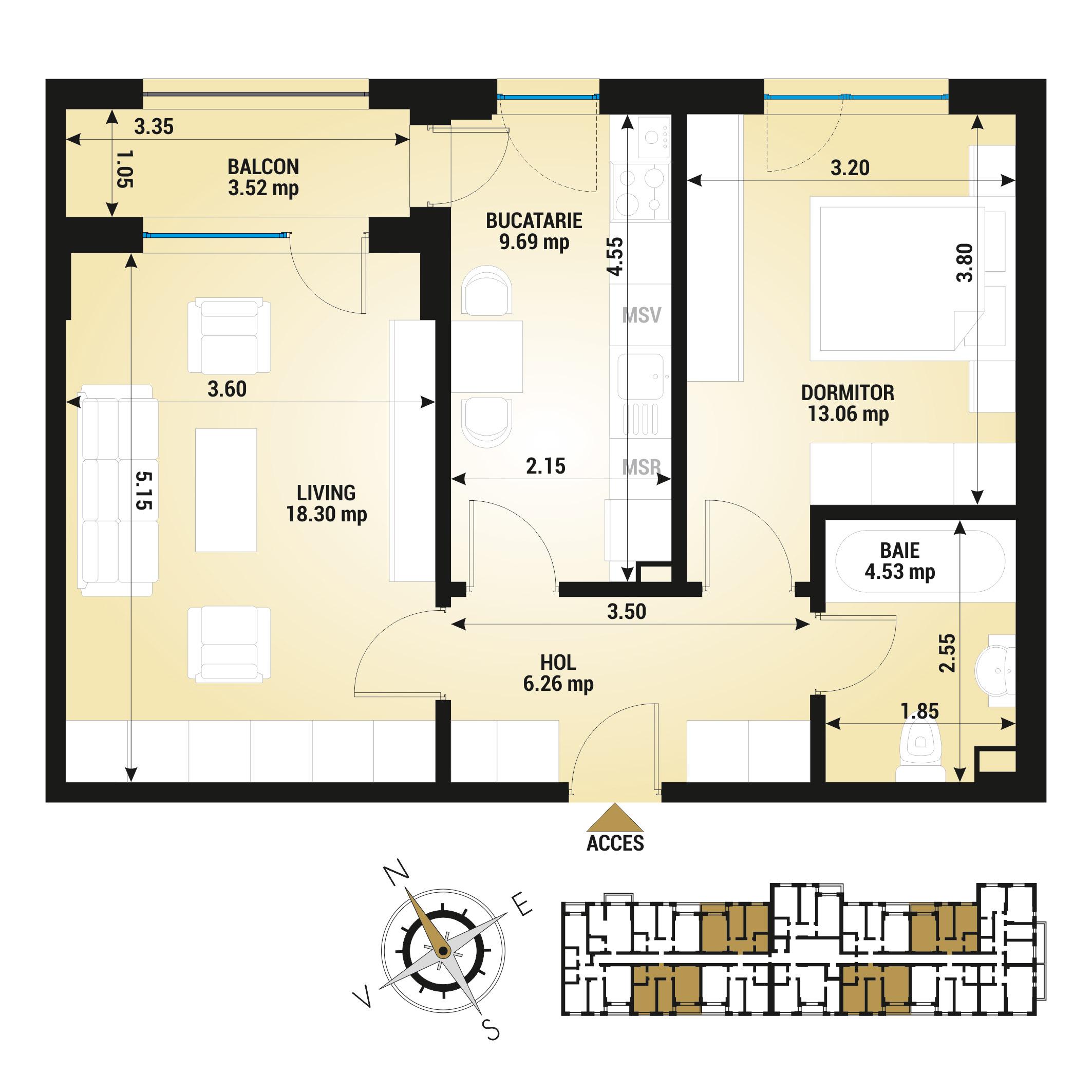Apartament 2 camere de vanzare Bucuresti - Uverturii Residence - Militari - Lujerului - Gorjului - Tip 4 - T3