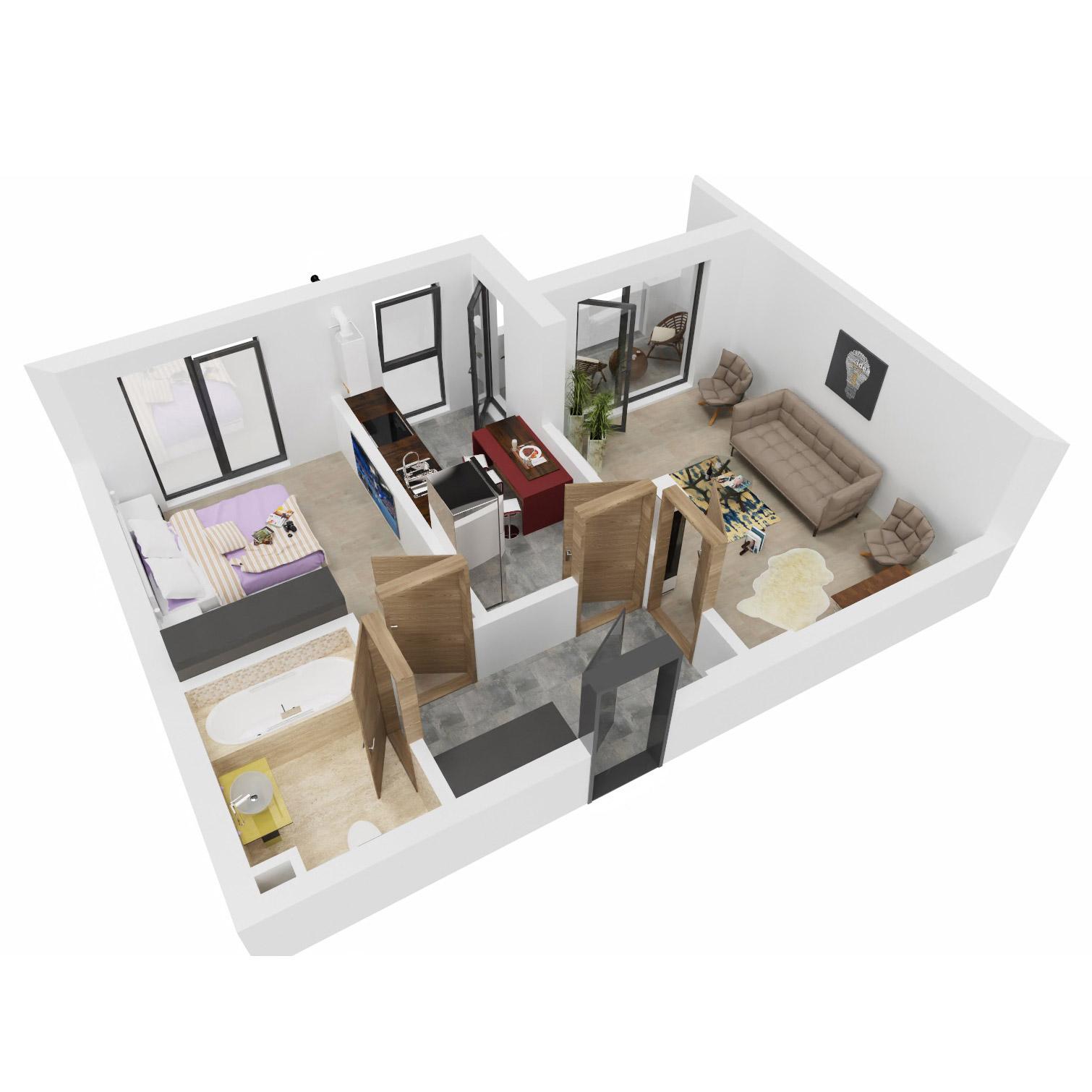 Apartament 2 camere de vanzare Bucuresti - Uverturii Residence - Militari - Lujerului - Gorjului - Tip 4D - T1 - B