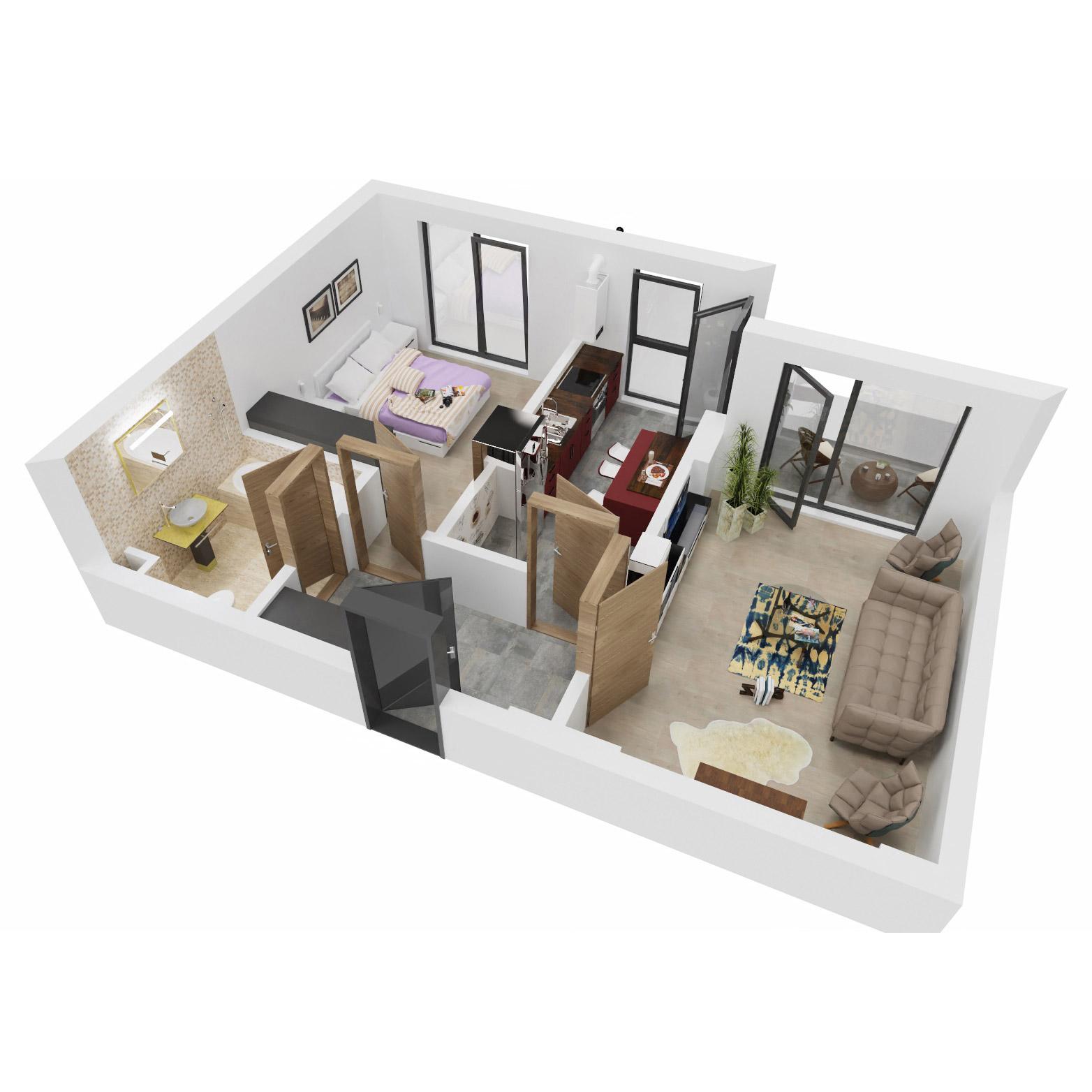 Apartament 2 camere de vanzare Bucuresti - Uverturii Residence - Militari - Lujerului - Gorjului - Tip 4D - T1 - C