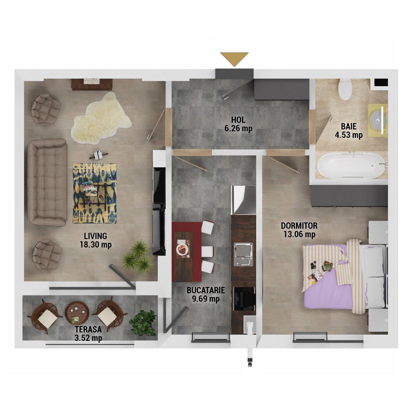 Apartament 2 camere de vanzare Bucuresti - Uverturii Residence - Militari - Lujerului - Gorjului - Tip 4D - T1 - D