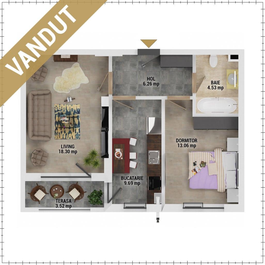 Apartament 2 camere de vanzare Bucuresti - Uverturii Residence - Militari - Lujerului - Gorjului - Tip 4D - T1 - V