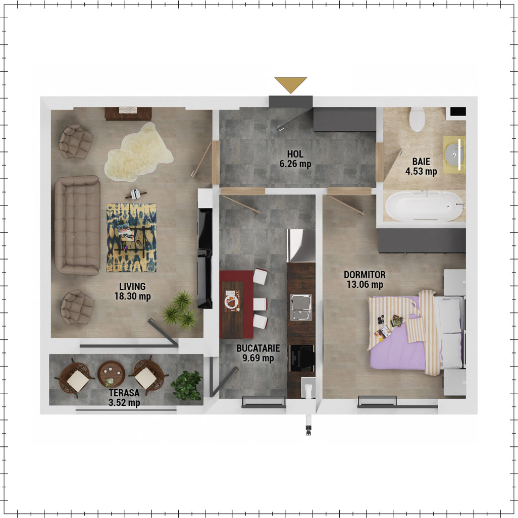 Apartament 2 camere de vanzare Bucuresti - Uverturii Residence - Militari - Lujerului - Gorjului - Tip 4D - T1 - E