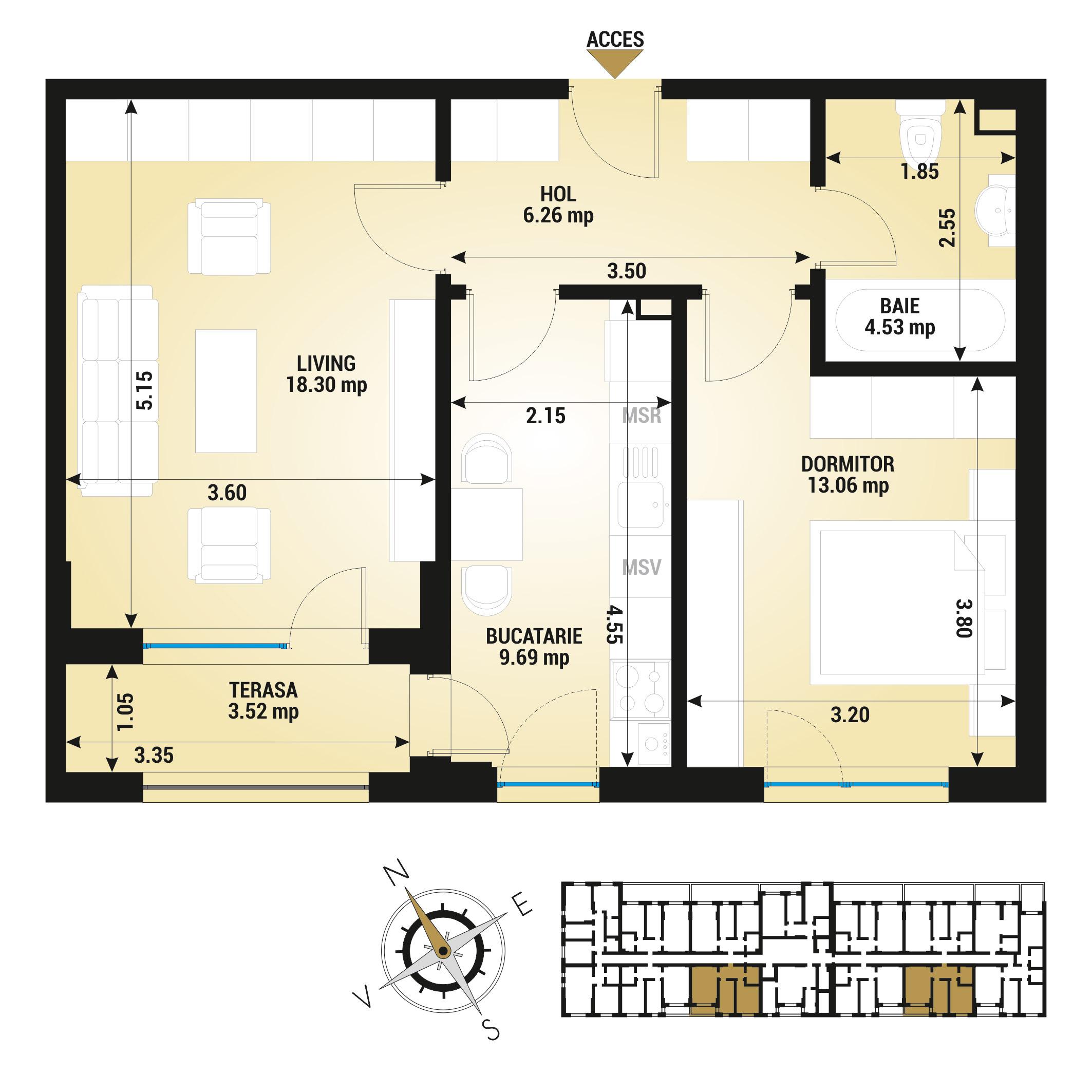 Apartament 2 camere de vanzare Bucuresti - Uverturii Residence - Militari - Lujerului - Gorjului - Tip 4D - T1