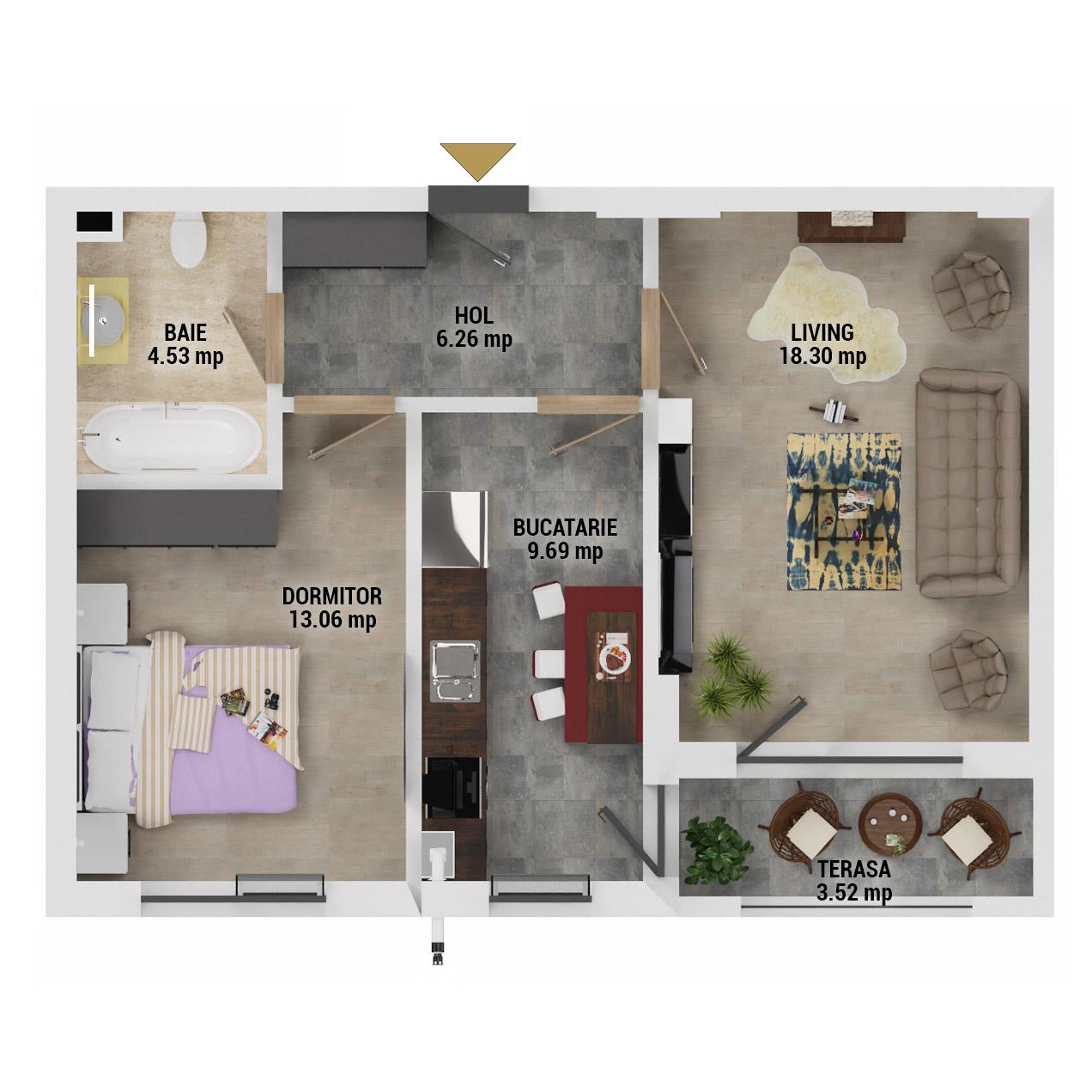 Apartament 2 camere de vanzare Bucuresti - Uverturii Residence - Militari - Lujerului - Gorjului - Tip 4D - T3 - G
