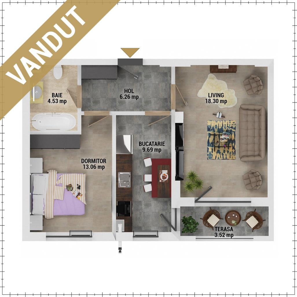 Apartament 2 camere de vanzare Bucuresti - Uverturii Residence - Militari - Lujerului - Gorjului - Tip 4D - T3 - HV