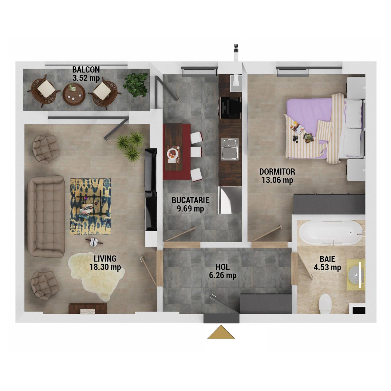 Apartament 2 camere de vanzare Bucuresti - Uverturii Residence - Militari - Lujerului - Gorjului - Tip 5 - T1 - D