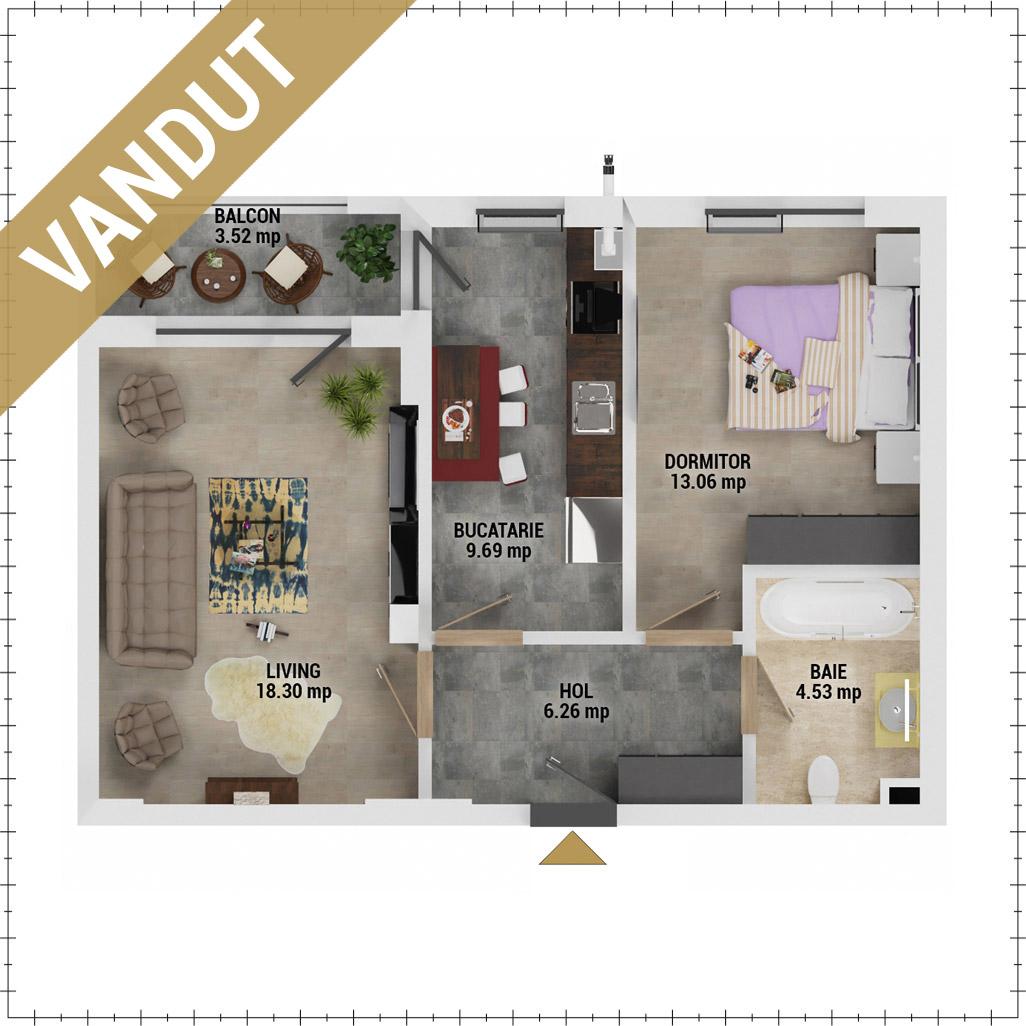 Apartament 2 camere de vanzare Bucuresti - Uverturii Residence - Militari - Lujerului - Gorjului - Tip 5 - T1 - V