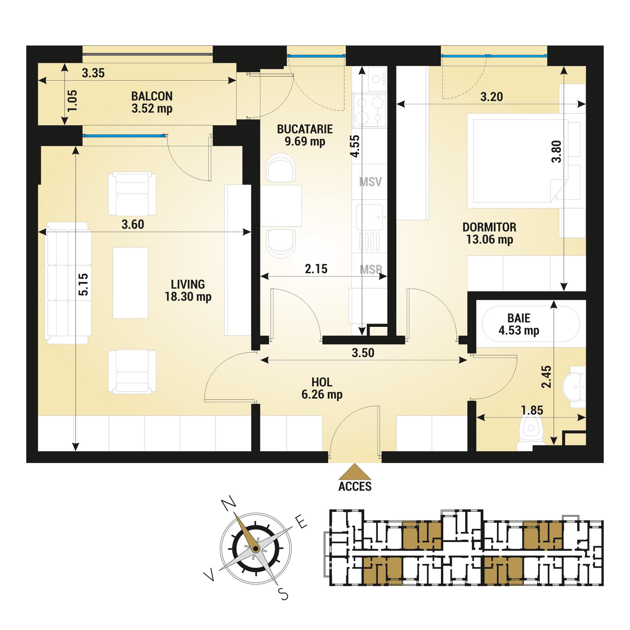 Apartament 2 camere de vanzare Bucuresti - Uverturii Residence - Militari - Lujerului - Gorjului - Tip 5 - T1