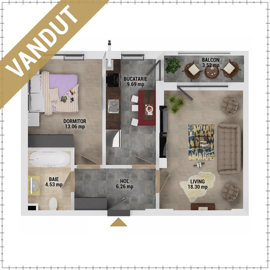 Apartament 2 camere de vanzare Bucuresti - Uverturii Residence - Militari - Lujerului - Gorjului - Tip 5 - T3 - FV