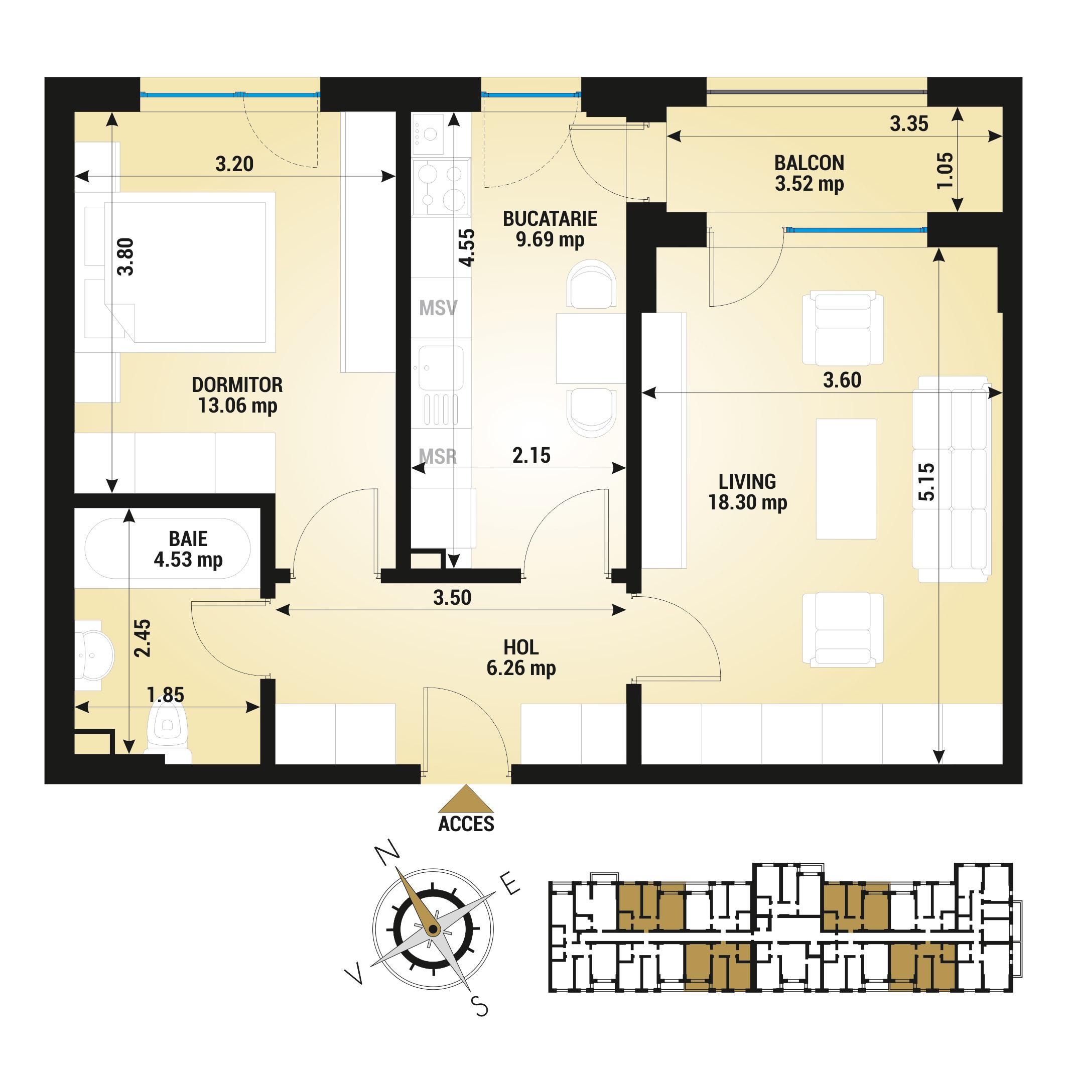 Apartament 2 camere de vanzare Bucuresti - Uverturii Residence - Militari - Lujerului - Gorjului - Tip 5 - T3