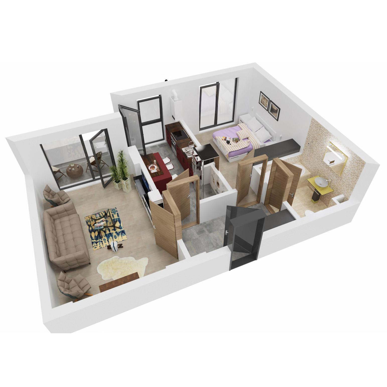 Apartament 2 camere de vanzare Bucuresti - Uverturii Residence - Militari - Lujerului - Gorjului - Tip 5D - T1 - C
