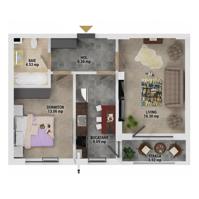 Apartament 2 camere de vanzare Bucuresti - Uverturii Residence - Militari - Lujerului - Gorjului - Tip 5D - T1 - D