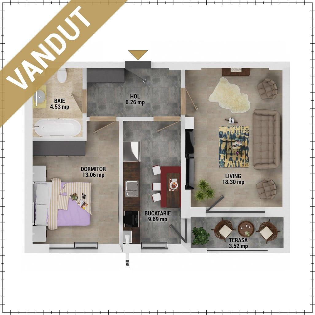 Apartament 2 camere de vanzare Bucuresti - Uverturii Residence - Militari - Lujerului - Gorjului - Tip 5D - T1 - V