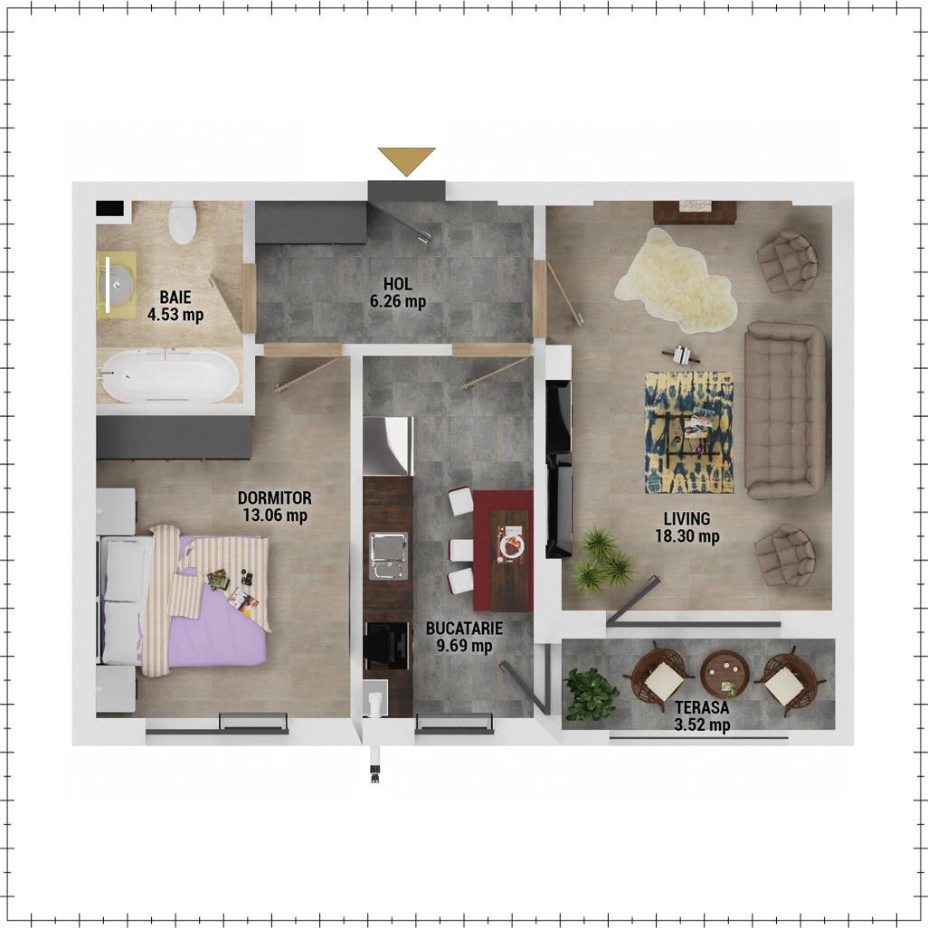 Apartament 2 camere de vanzare Bucuresti - Uverturii Residence - Militari - Lujerului - Gorjului - Tip 5D - T1 - E