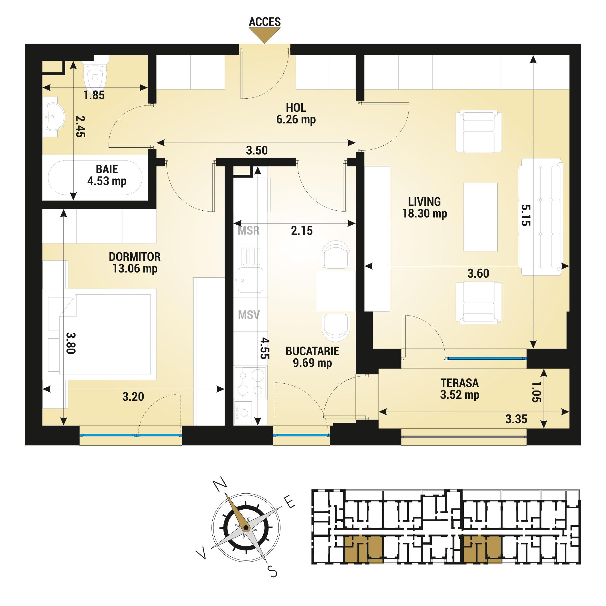 Apartament 2 camere de vanzare Bucuresti - Uverturii Residence - Militari - Lujerului - Gorjului - Tip 5D - T1