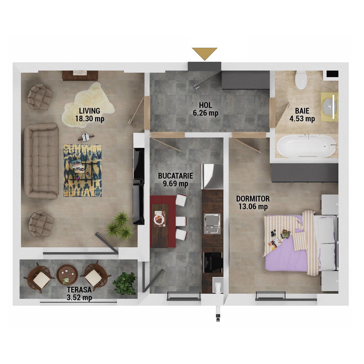 Apartament 2 camere de vanzare Bucuresti - Uverturii Residence - Militari - Lujerului - Gorjului - Tip 5D - T3 - G