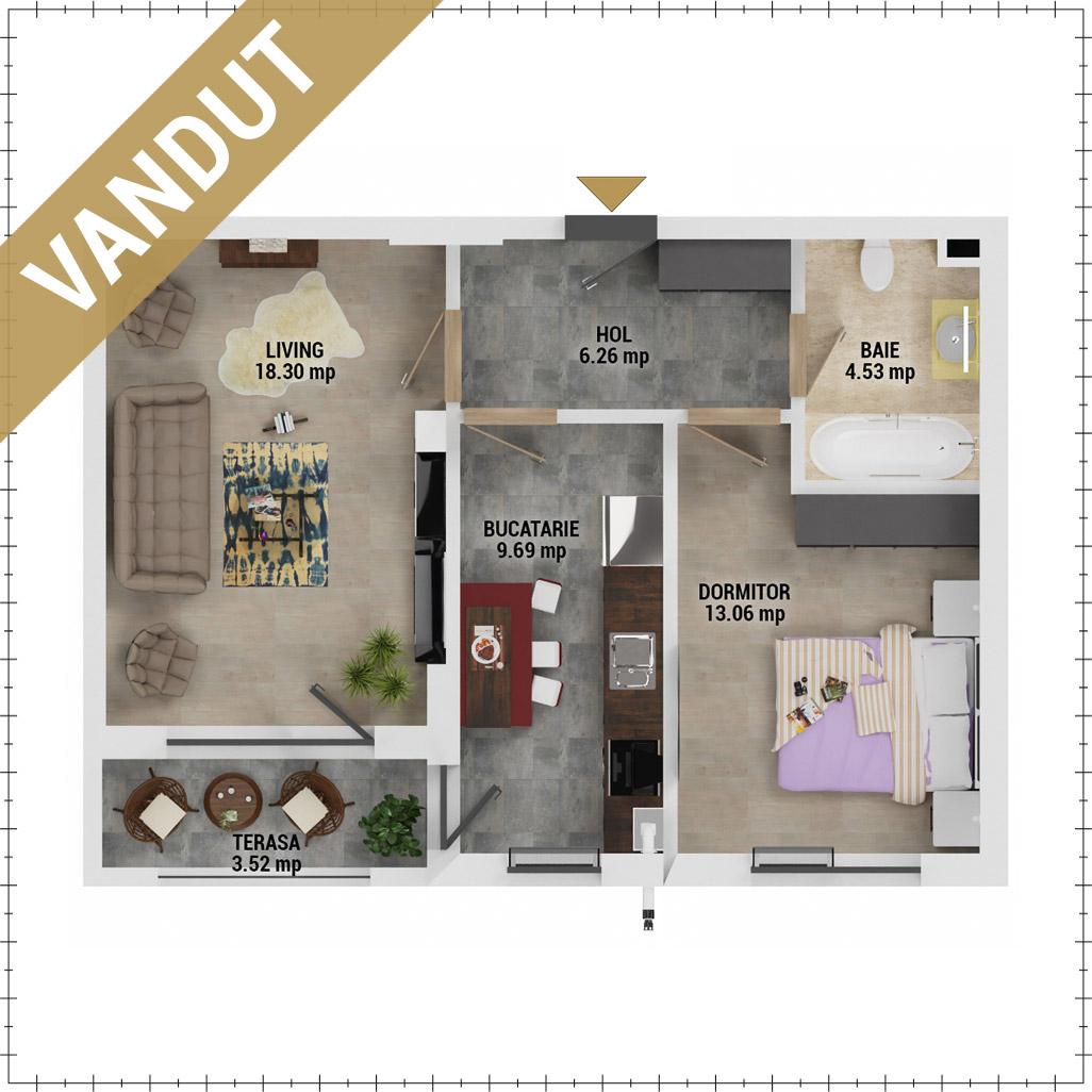 Apartament 2 camere de vanzare Bucuresti - Uverturii Residence - Militari - Lujerului - Gorjului - Tip 5D - T3 - HV