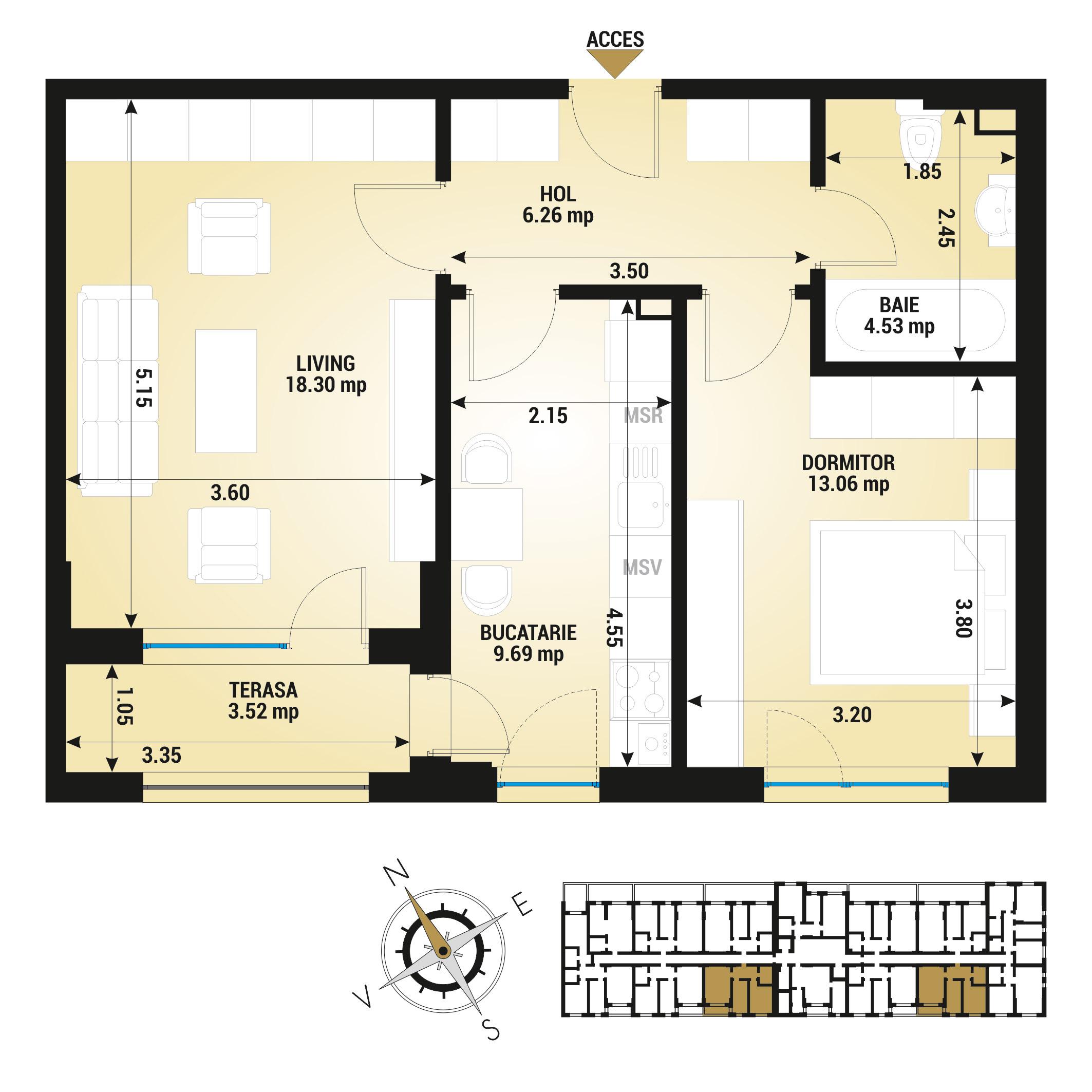 Apartament 2 camere de vanzare Bucuresti - Uverturii Residence - Militari - Lujerului - Gorjului - Tip 5D - T3