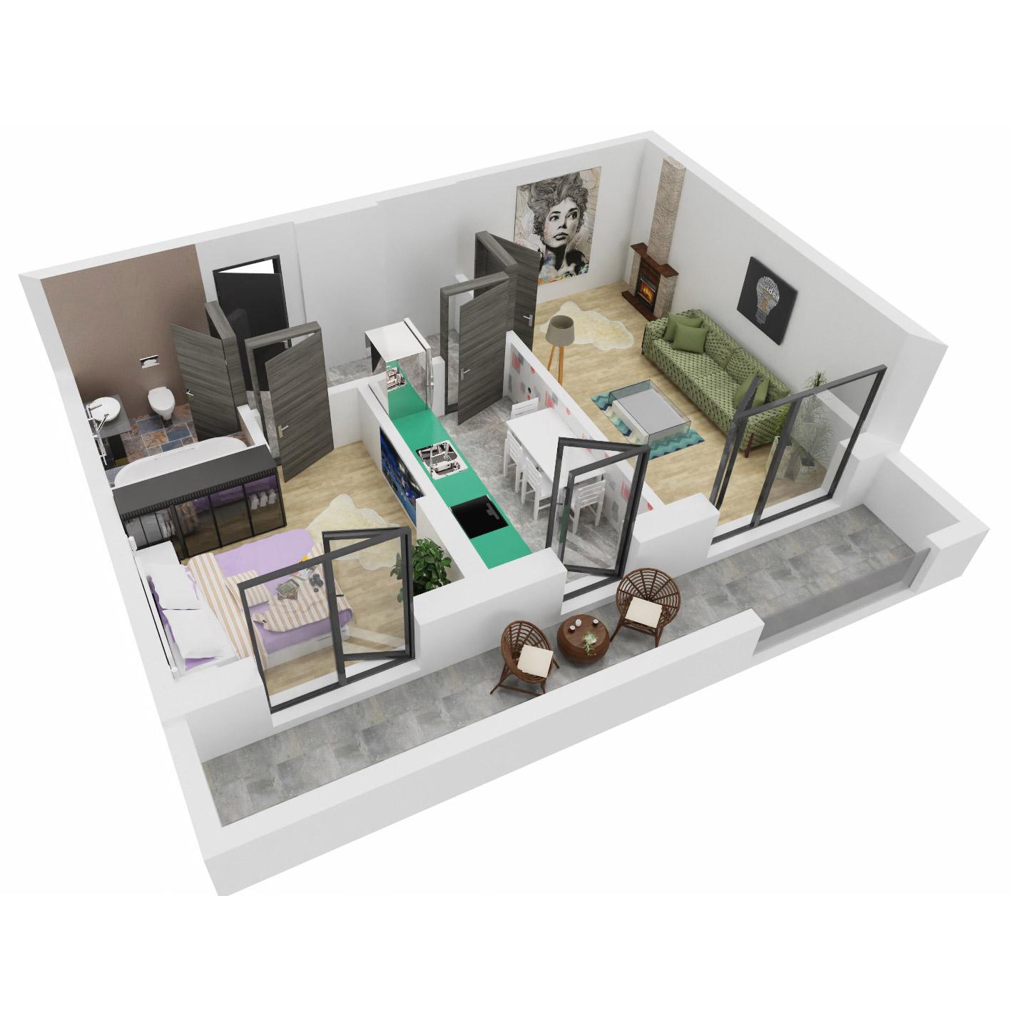 Apartament 2 camere de vanzare Bucuresti - Uverturii Residence - Militari - Lujerului - Gorjului - Tip 6 - T1 - A