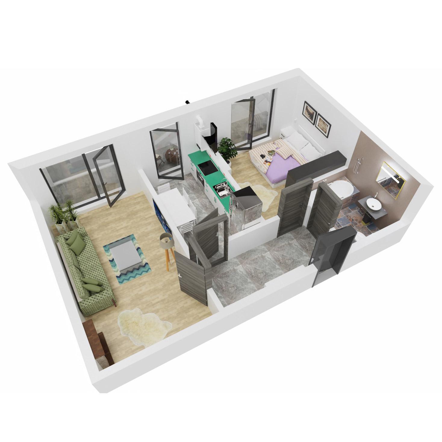 Apartament 2 camere de vanzare Bucuresti - Uverturii Residence - Militari - Lujerului - Gorjului - Tip 6 - T1 - B