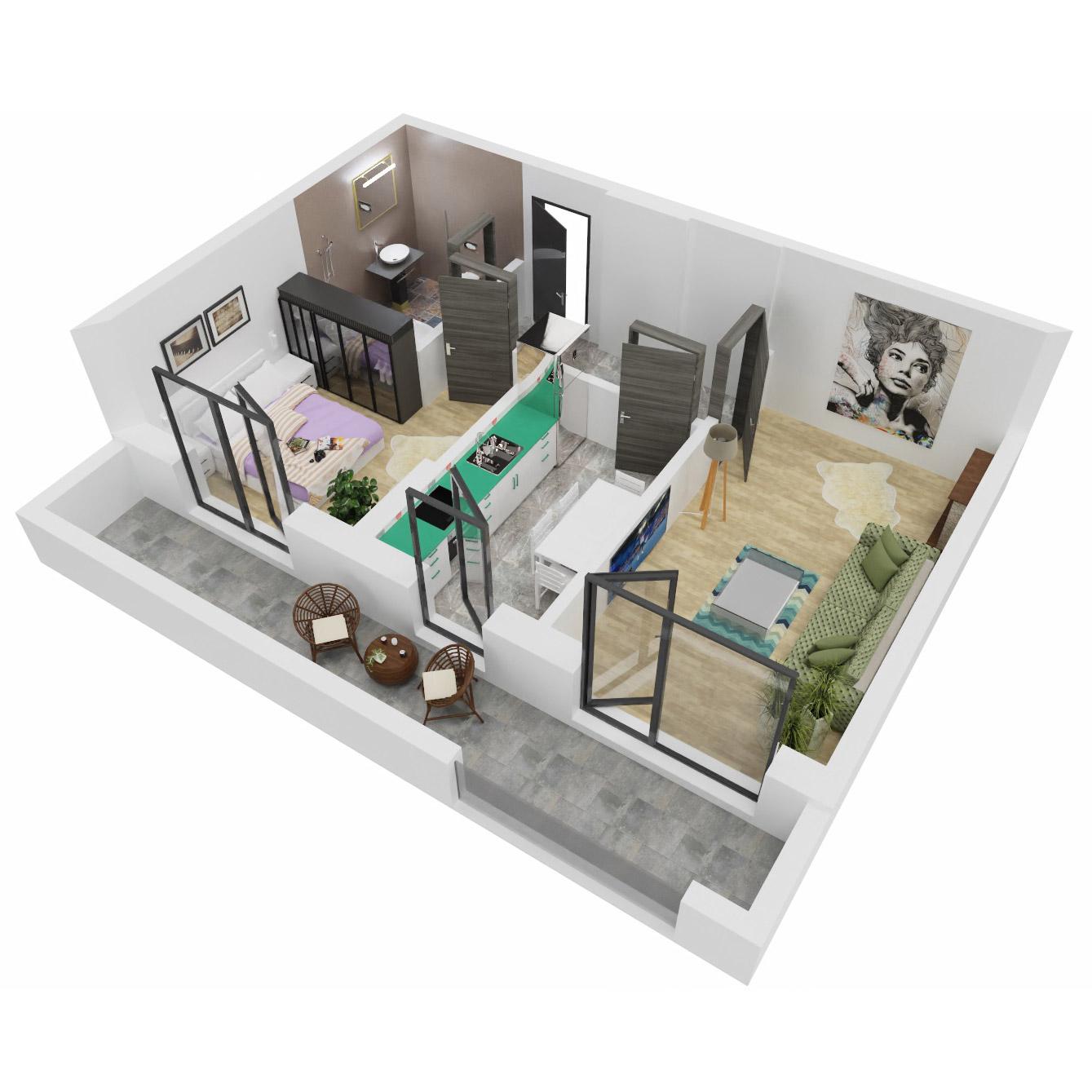 Apartament 2 camere de vanzare Bucuresti - Uverturii Residence - Militari - Lujerului - Gorjului - Tip 6 - T1 - C