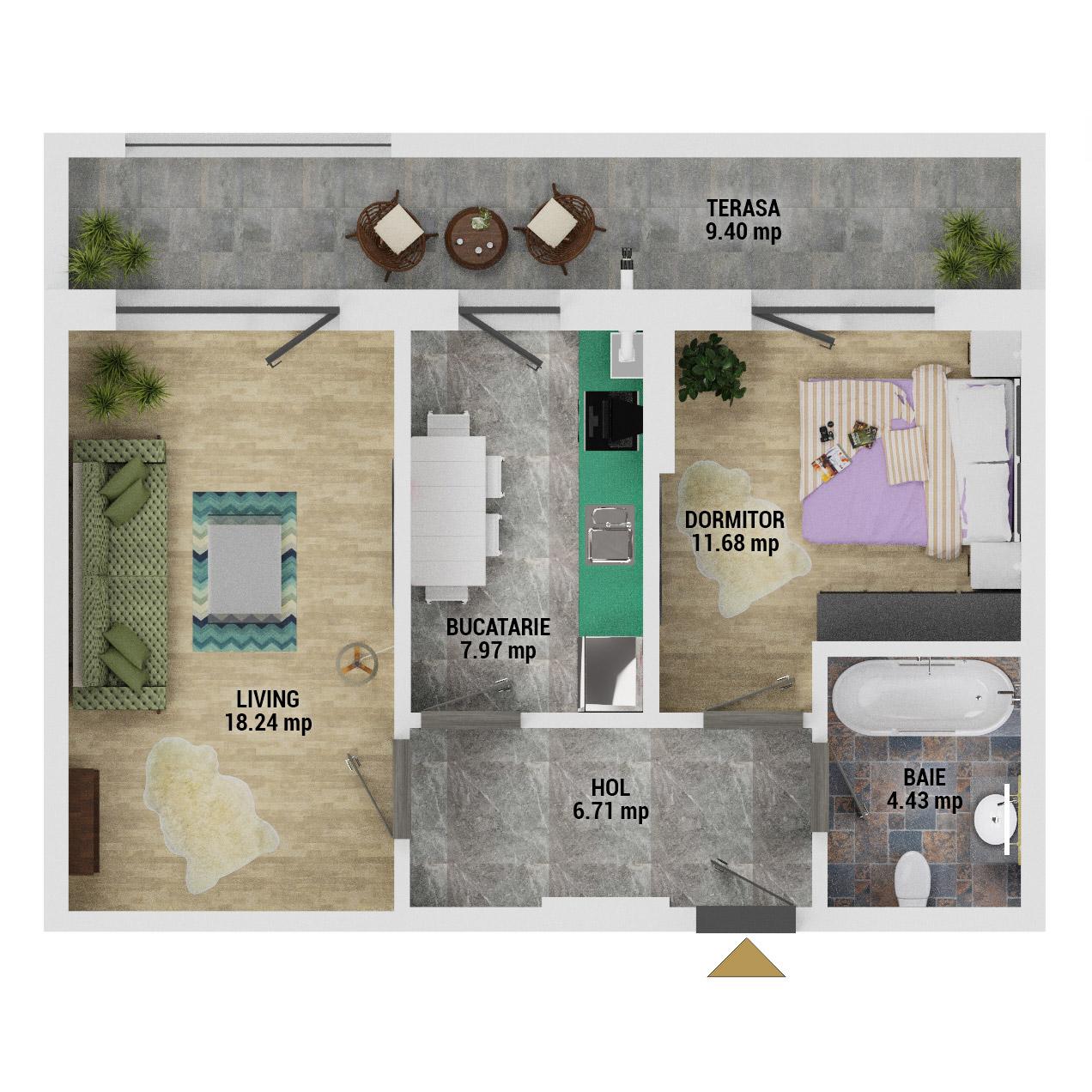 Apartament 2 camere de vanzare Bucuresti - Uverturii Residence - Militari - Lujerului - Gorjului - Tip 6 - T1 - D