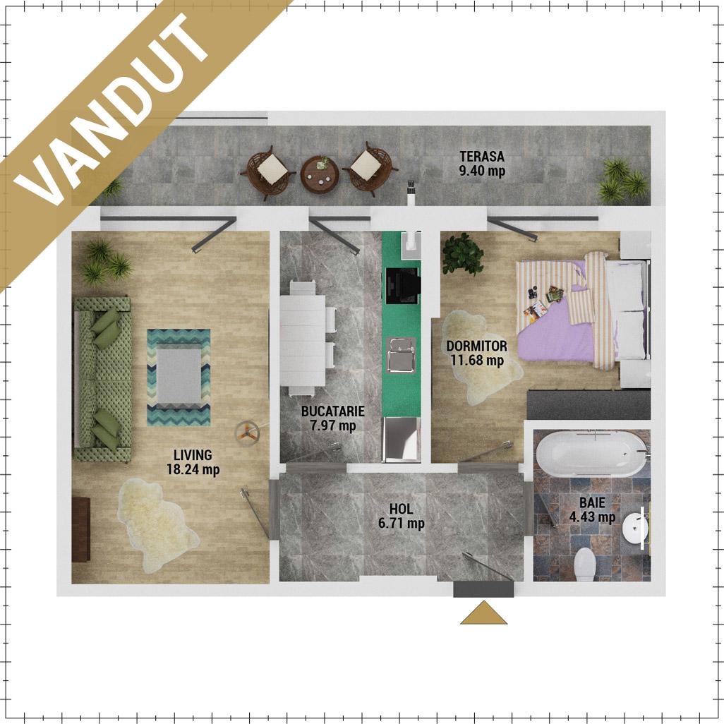 Apartament 2 camere de vanzare Bucuresti - Uverturii Residence - Militari - Lujerului - Gorjului - Tip 6 - T1 - EV