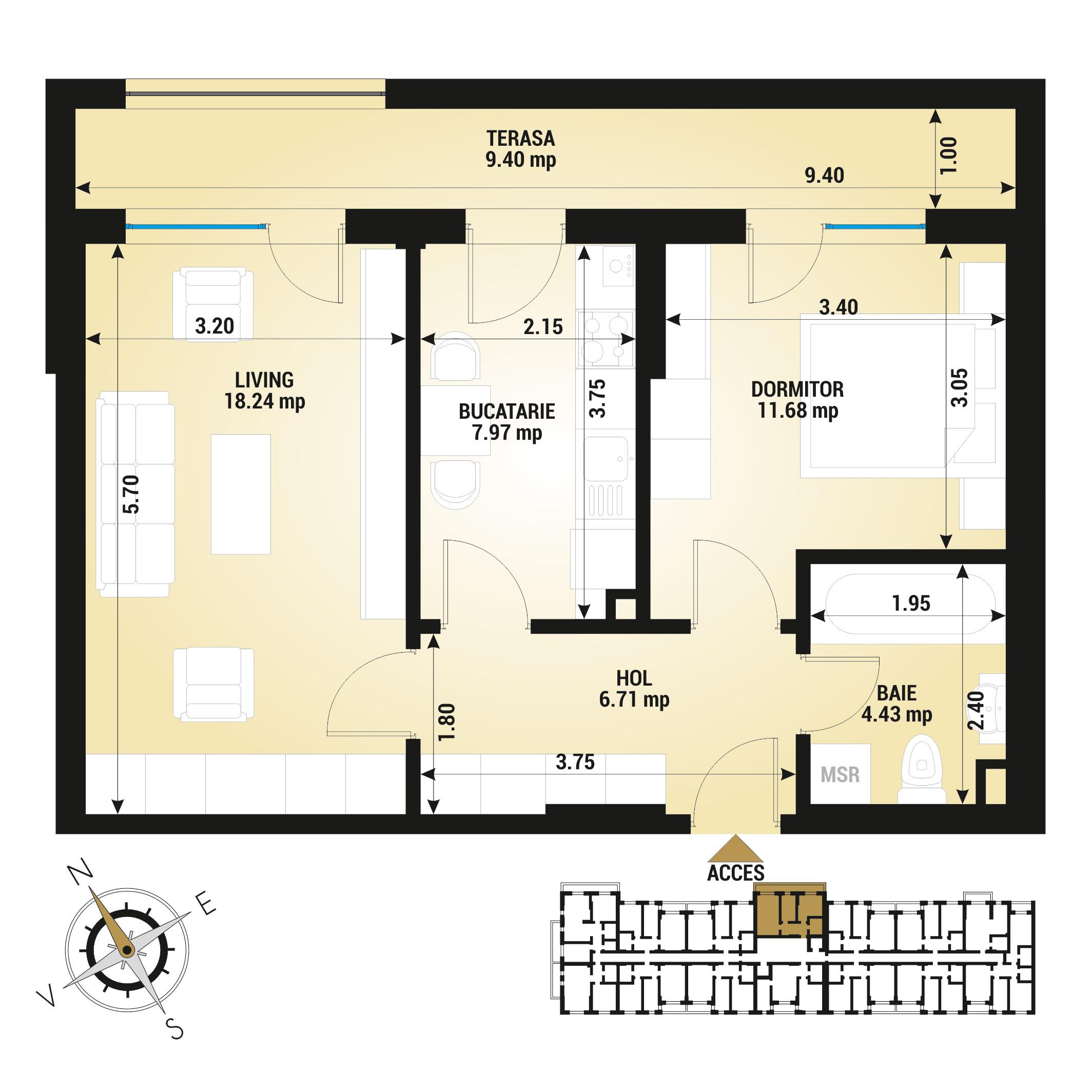 Apartament 2 camere de vanzare Bucuresti - Uverturii Residence - Militari - Lujerului - Gorjului - Tip 6 - T1