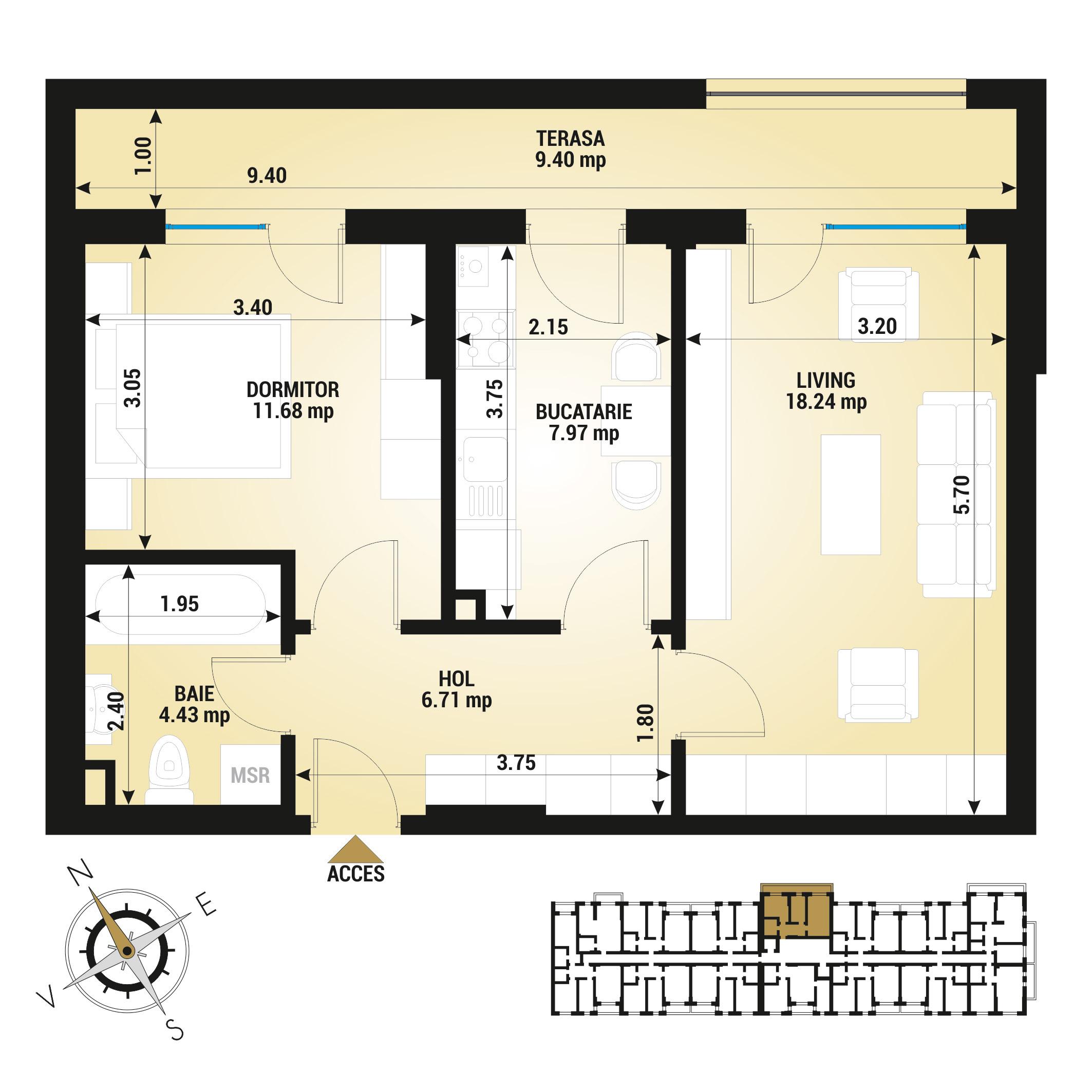 Apartament 2 camere de vanzare Bucuresti - Uverturii Residence - Militari - Lujerului - Gorjului - Tip 6 - T3
