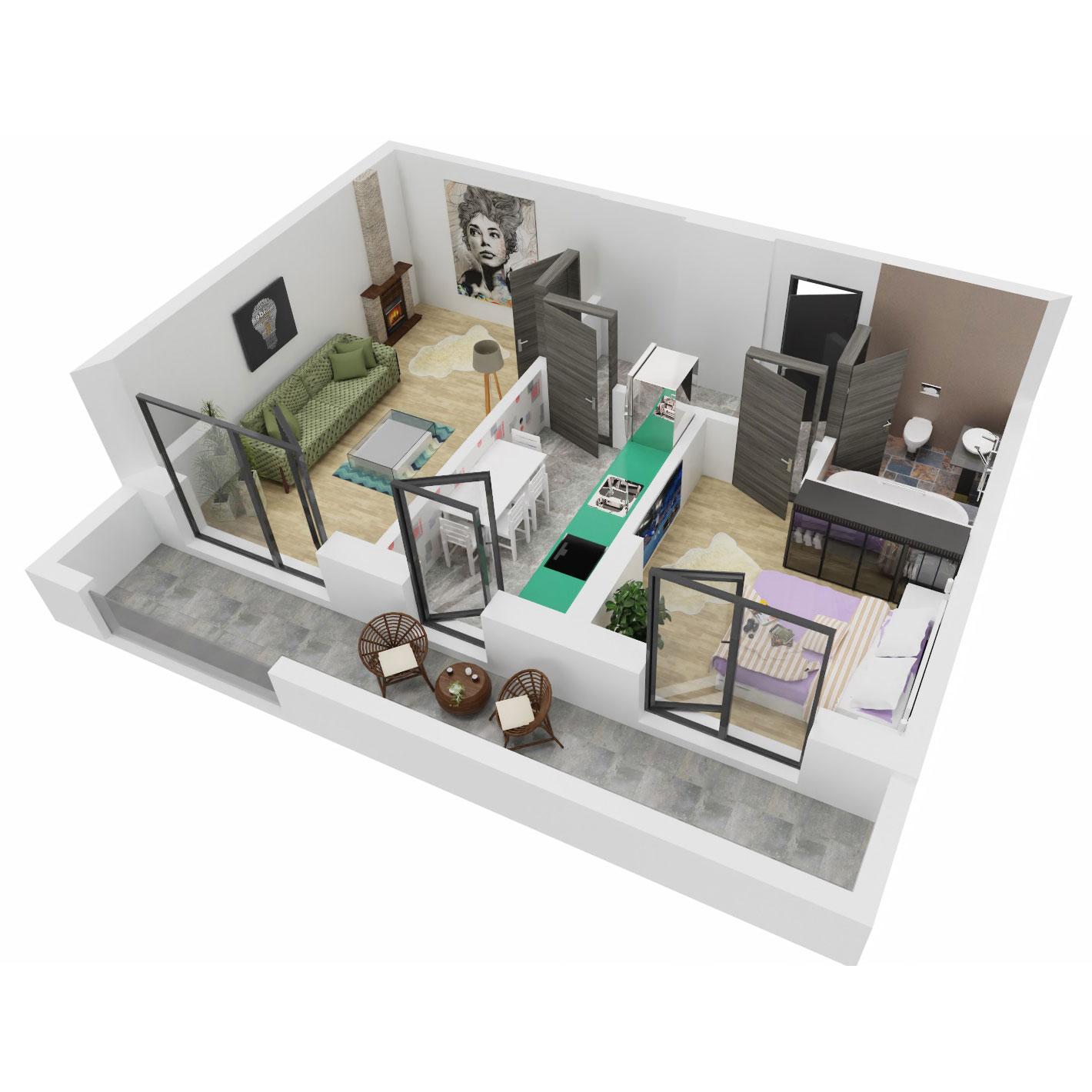 Apartament 2 camere de vanzare Bucuresti - Uverturii Residence - Militari - Lujerului - Gorjului - Tip 6 - T3 - A