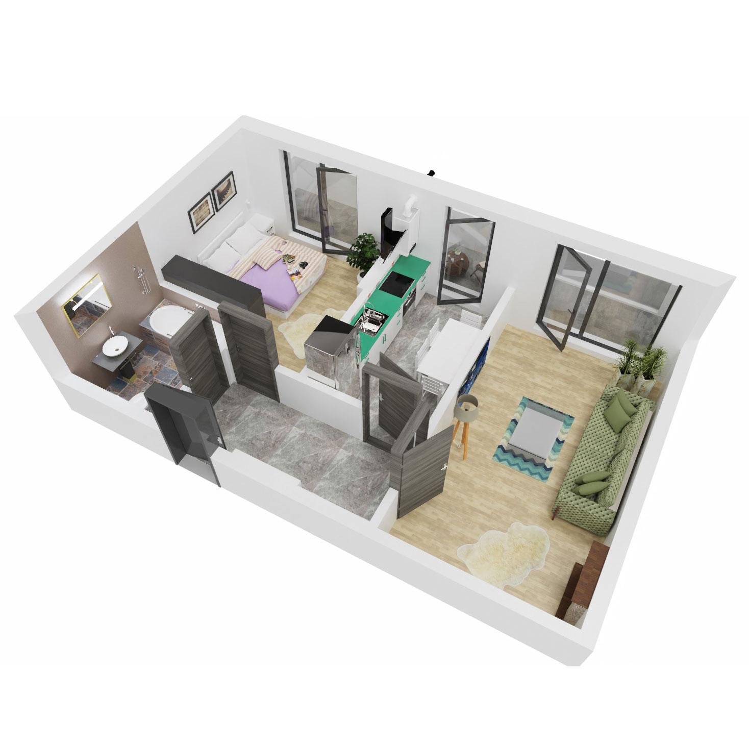 Apartament 2 camere de vanzare Bucuresti - Uverturii Residence - Militari - Lujerului - Gorjului - Tip 6 - T3 - B